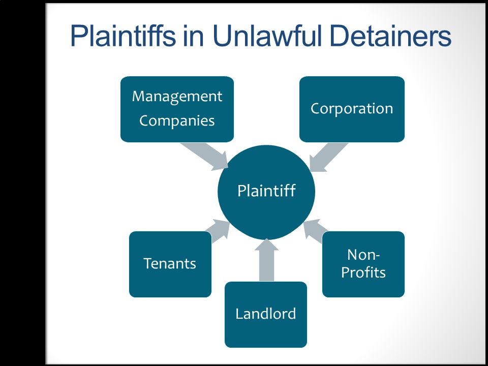 Plaintiffs in Unlawful Detainers Non- Profits Landlord Tenants Plaintiff Management Companies Corporation