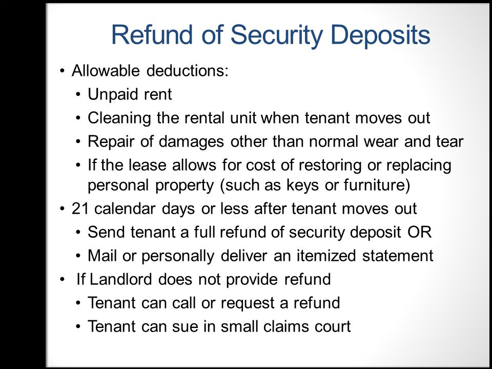 Landlord's Responsibilities Implied covenant of quiet enjoyment Landlord must make the unit fit to live in, or habitable Landlord must repair problems that make the rental unit unfit to live in or uninhabitable