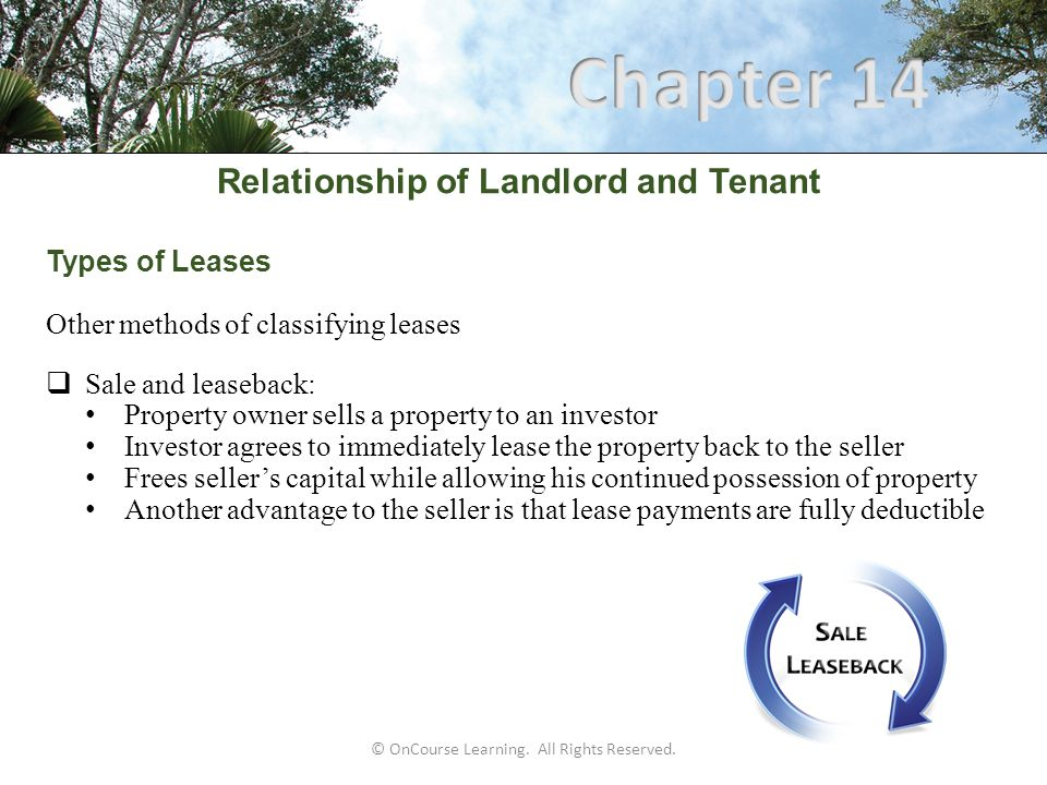 © OnCourse Learning. All Rights Reserved. Relationship of Landlord and Tenant Types of Leases Other methods of classifying leases  Sale and leaseback