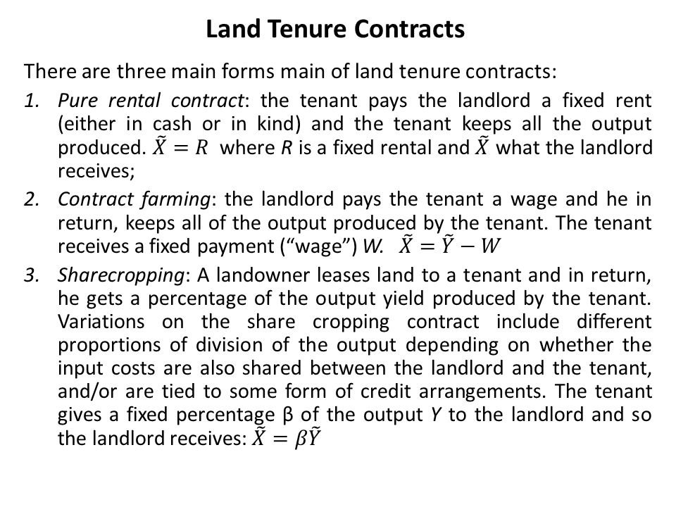 Land Tenure Contracts