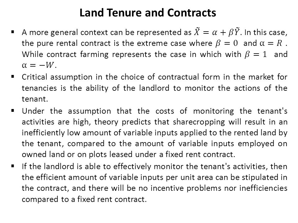 Land Tenure and Contracts