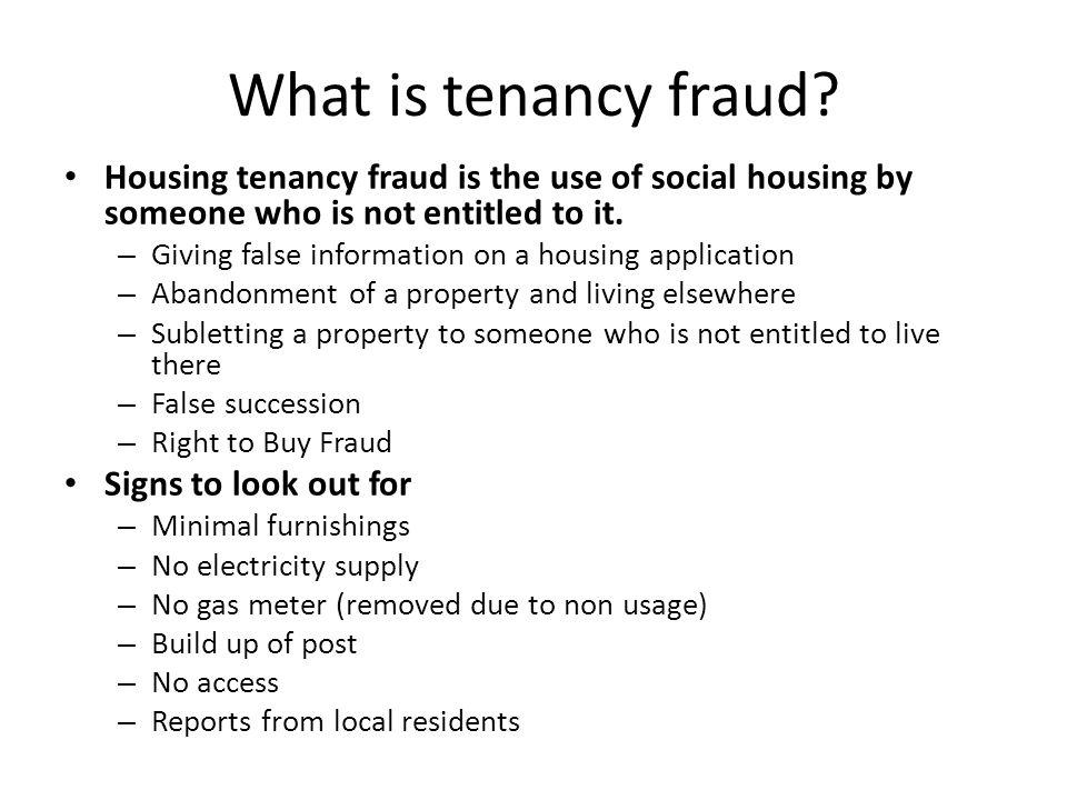 What is tenancy fraud.