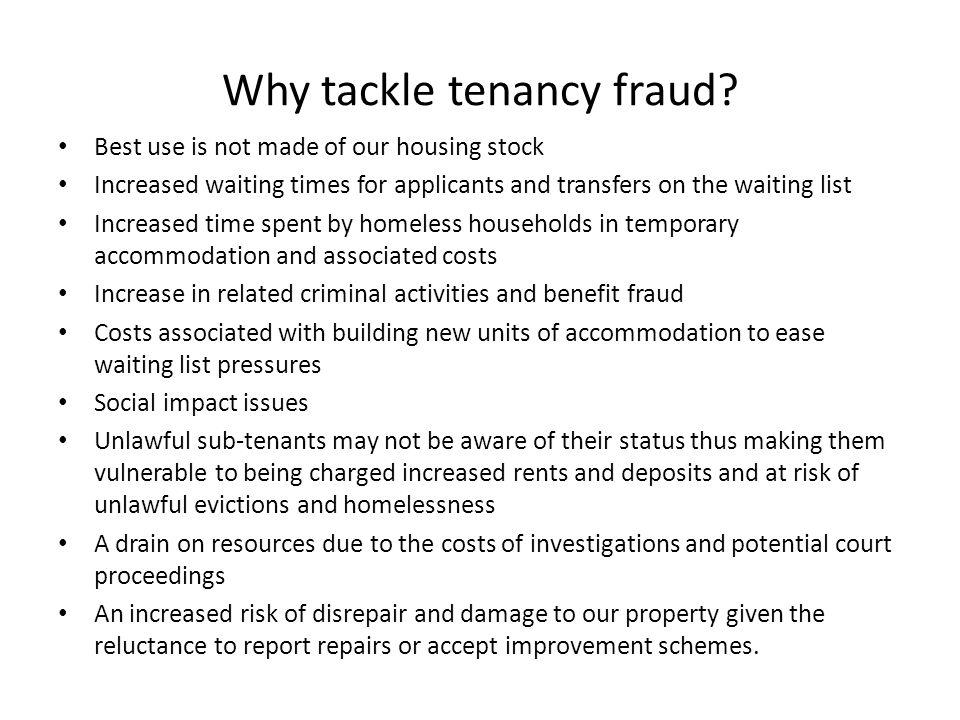 Why tackle tenancy fraud.