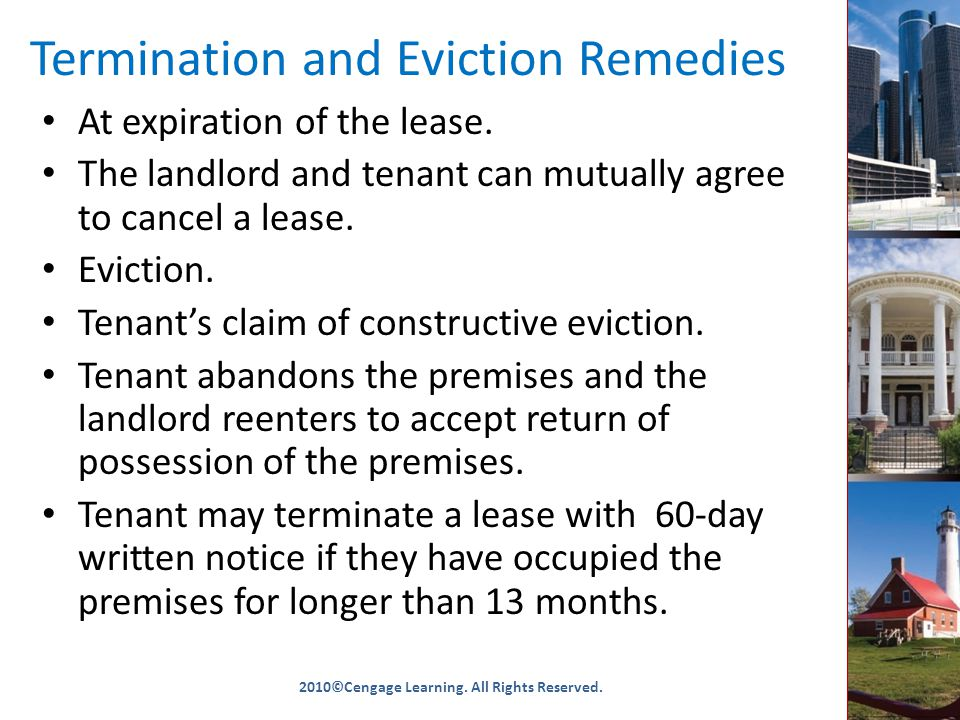 Termination and Eviction Remedies At expiration of the lease.