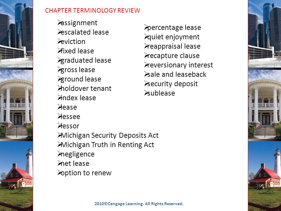 CHAPTER TERMINOLOGY REVIEW 2010©Cengage Learning. All Rights Reserved.