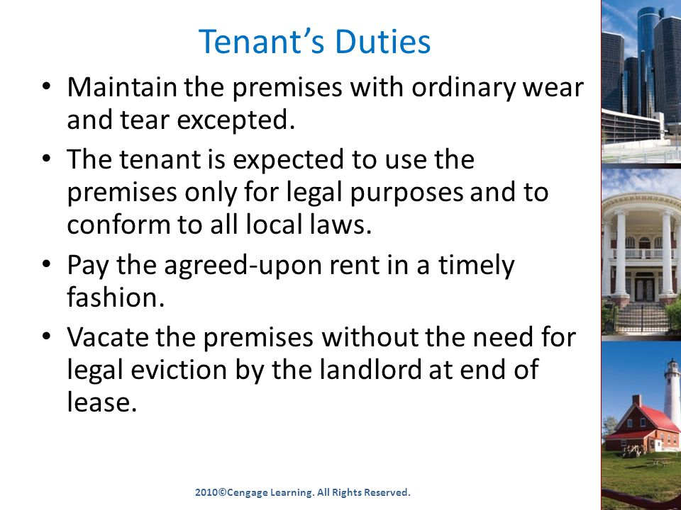 Tenant's Duties Maintain the premises with ordinary wear and tear excepted.