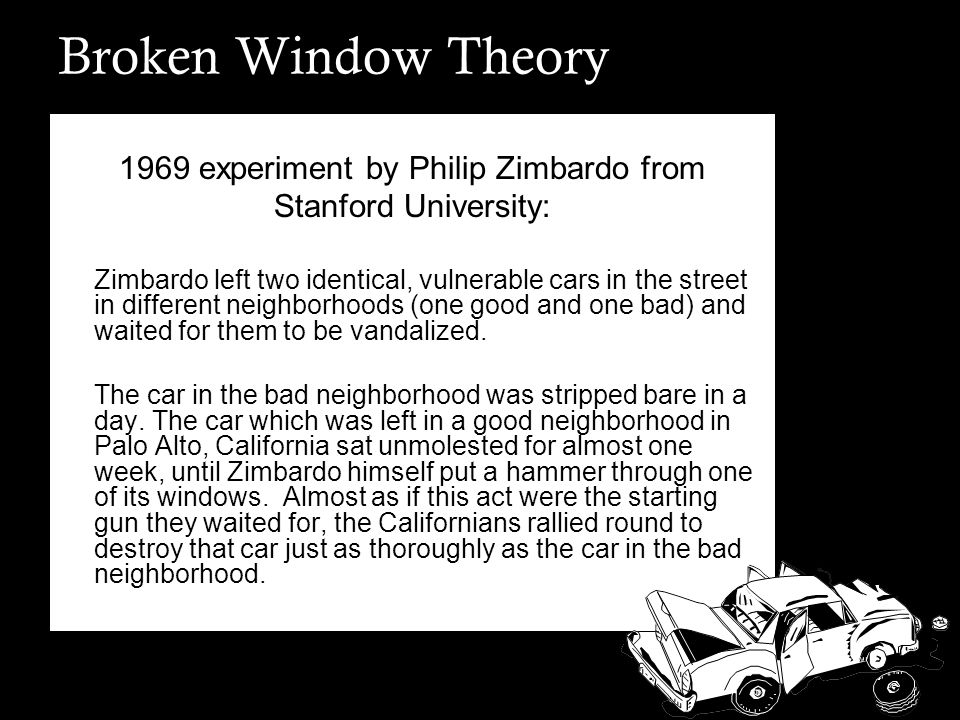 Broken Window Theory Evidence of decay encourages crime.