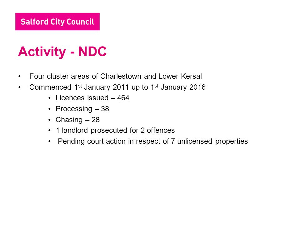 Activity - NDC Four cluster areas of Charlestown and Lower Kersal Commenced 1 st January 2011 up to 1 st January 2016 Licences issued – 464 Processing – 38 Chasing – 28 1 landlord prosecuted for 2 offences Pending court action in respect of 7 unlicensed properties