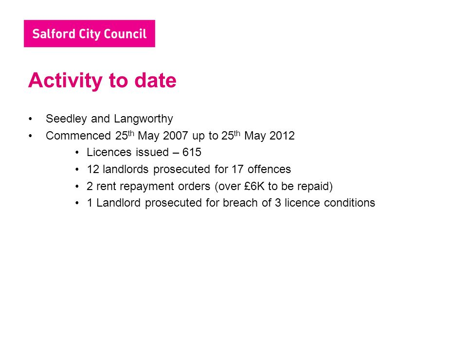 Activity to date Seedley and Langworthy Commenced 25 th May 2007 up to 25 th May 2012 Licences issued – 615 12 landlords prosecuted for 17 offences 2