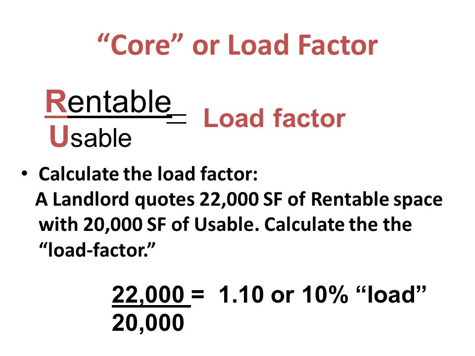 """Calculate the load factor: A Landlord quotes 22,000 SF of Rentable space with 20,000 SF of Usable. Calculate the the """"load-factor."""" Rentable U sable L"""