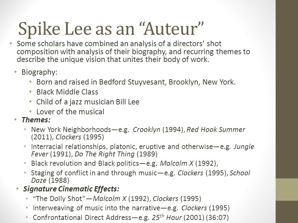 Spike Lee as an Auteur Some scholars have combined an analysis of a directors' shot composition with analysis of their biography, and recurring themes to describe the unique vision that unites their body of work.