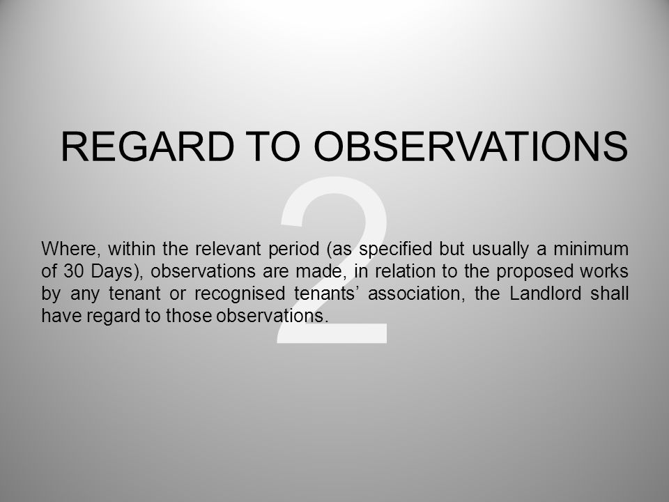 3 The Landlord must seek estimates: i)from a single nominee of an Registered Tenant's Association (RTA) (whether or not any are received from individual Leaseholders); ii)from a single nominee of only one Leaseholder (whether or not one is made by an RTA); iii)if single nominations are made by more than one Leaseholder (whether or not any are made by an RTA), the Landlord must seek an estimate from the person with most nominations, or, if there is no clear leader but there are two or more who tie for first place, from one of those.