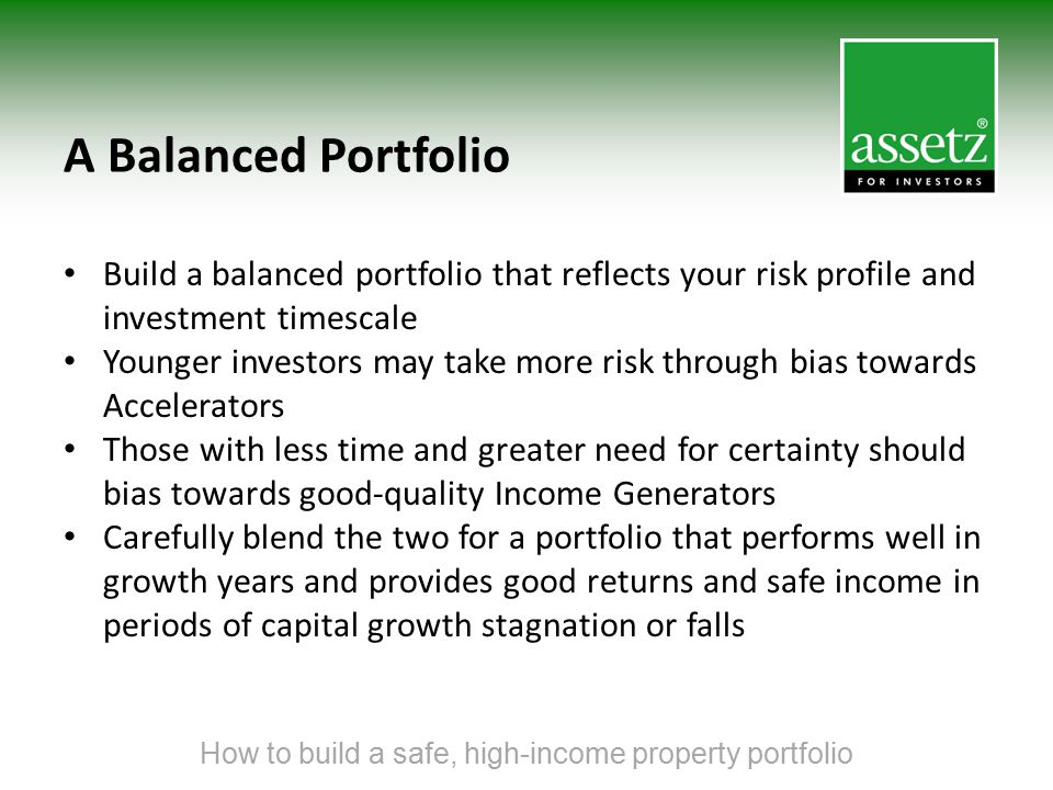 A Balanced Portfolio Build a balanced portfolio that reflects your risk profile and investment timescale Younger investors may take more risk through