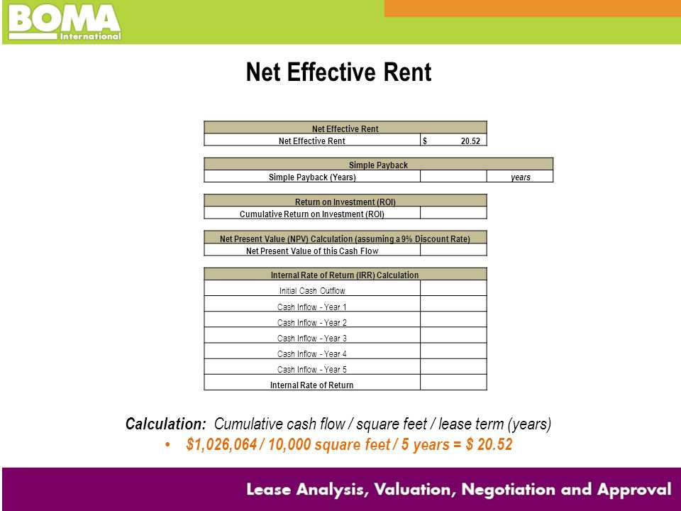 Net Effective Rent $ 20.52 Simple Payback Simple Payback (Years) years Return on Investment (ROI) Cumulative Return on Investment (ROI) Net Present Value (NPV) Calculation (assuming a 9% Discount Rate) Net Present Value of this Cash Flow Internal Rate of Return (IRR) Calculation Initial Cash Outflow Cash Inflow - Year 1 Cash Inflow - Year 2 Cash Inflow - Year 3 Cash Inflow - Year 4 Cash Inflow - Year 5 Internal Rate of Return Net Effective Rent Calculation: Cumulative cash flow / square feet / lease term (years) $1,026,064 / 10,000 square feet / 5 years = $ 20.52