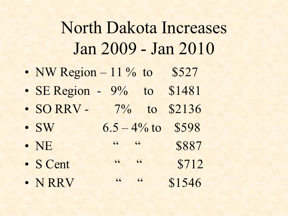 North Dakota Increases Jan 2009 - Jan 2010 NW Region – 11 % to $527 SE Region - 9% to $1481 SO RRV - 7% to $2136 SW 6.5 – 4% to $598 NE $887 S Cent $712 N RRV $1546
