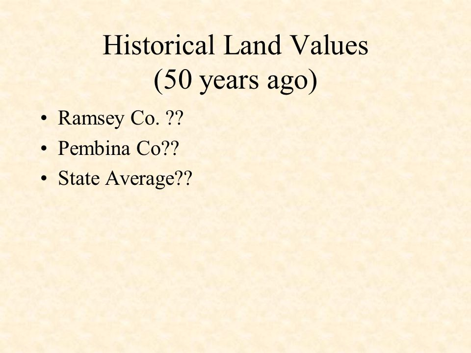 Historical Land Values (50 years ago) Ramsey Co. ?? Pembina Co?? State Average??