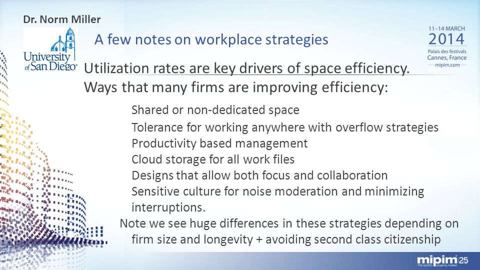 A few notes on workplace strategies Dr.