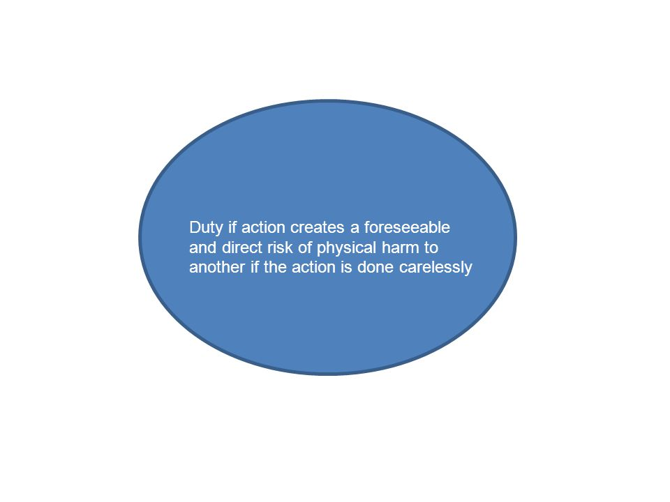 Duty if action creates a foreseeable and direct risk of physical harm to another if the action is done carelessly