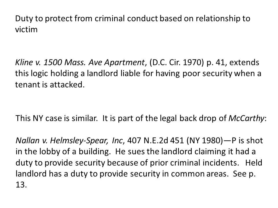 Kline v. 1500 Mass. Ave Apartment, (D.C. Cir. 1970) p.
