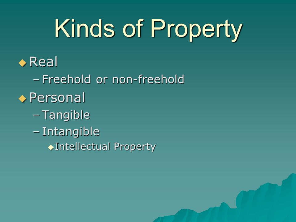 Kinds of Property  Real –Freehold or non-freehold  Personal –Tangible –Intangible  Intellectual Property