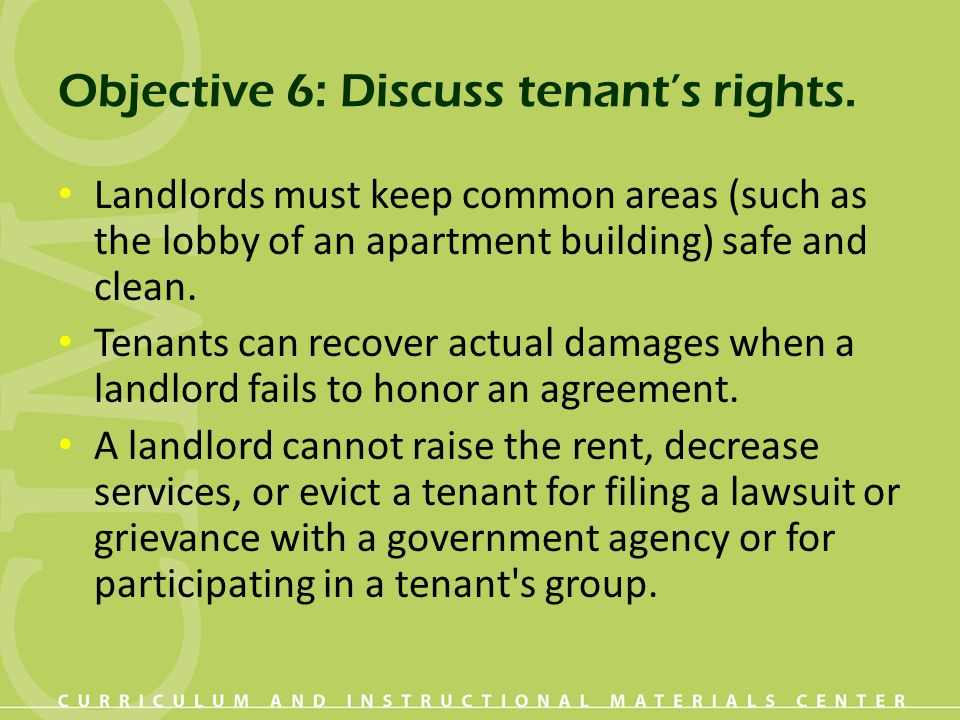 Objective 6: Discuss tenant's rights.