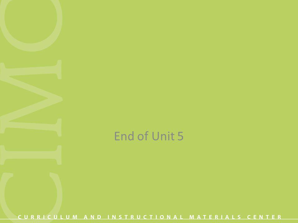 End of Unit 5