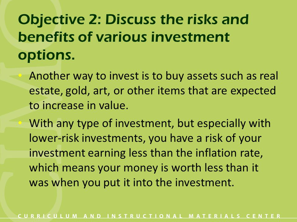 Objective 2: Discuss the risks and benefits of various investment options.