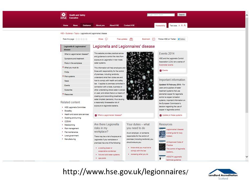 http://www.hse.gov.uk/legionnaires /