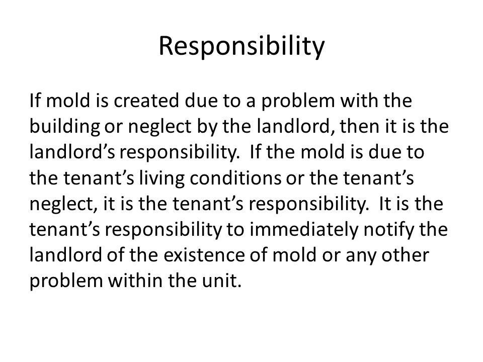 Responsibility If mold is created due to a problem with the building or neglect by the landlord, then it is the landlord's responsibility.