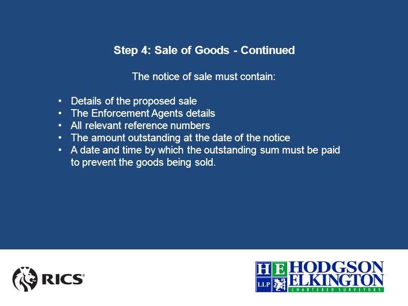 Step 4: Sale of Goods - Continued Aside from the basic steps above, there are a number of other important changes which commercial Landlords should be aware of.