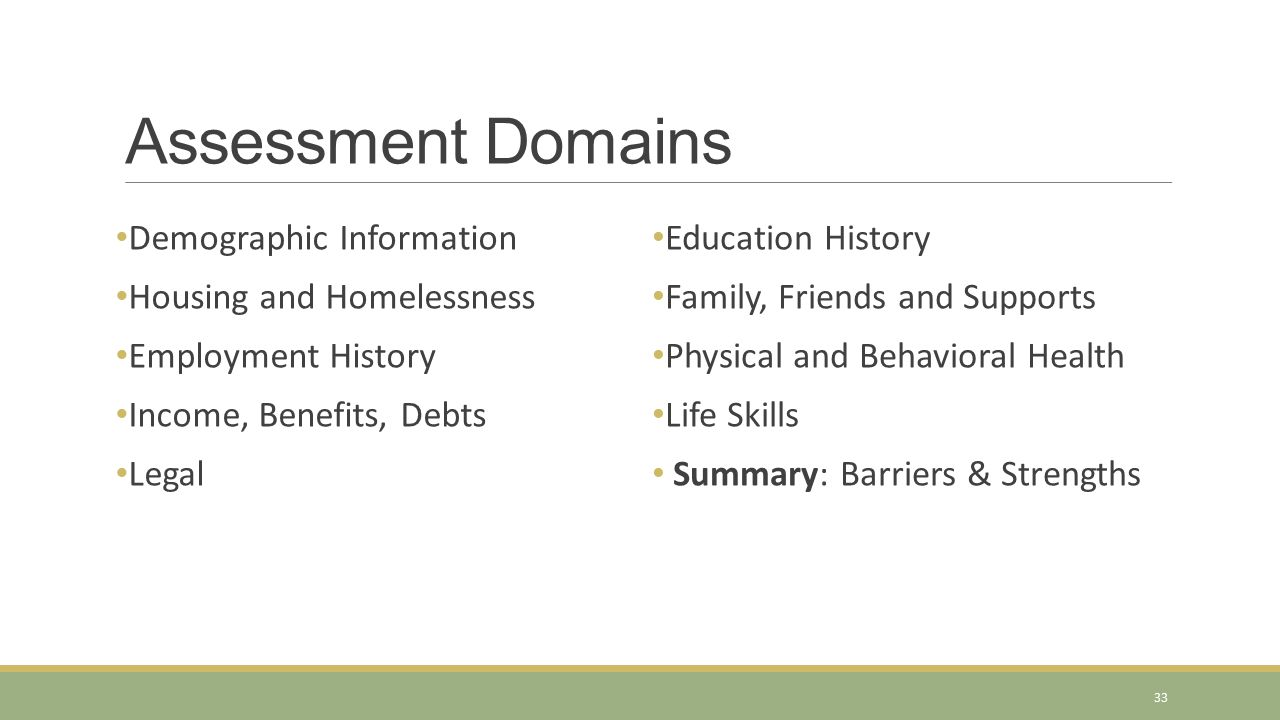 Assessment Domains Demographic Information Housing and Homelessness Employment History Income, Benefits, Debts Legal Education History Family, Friends