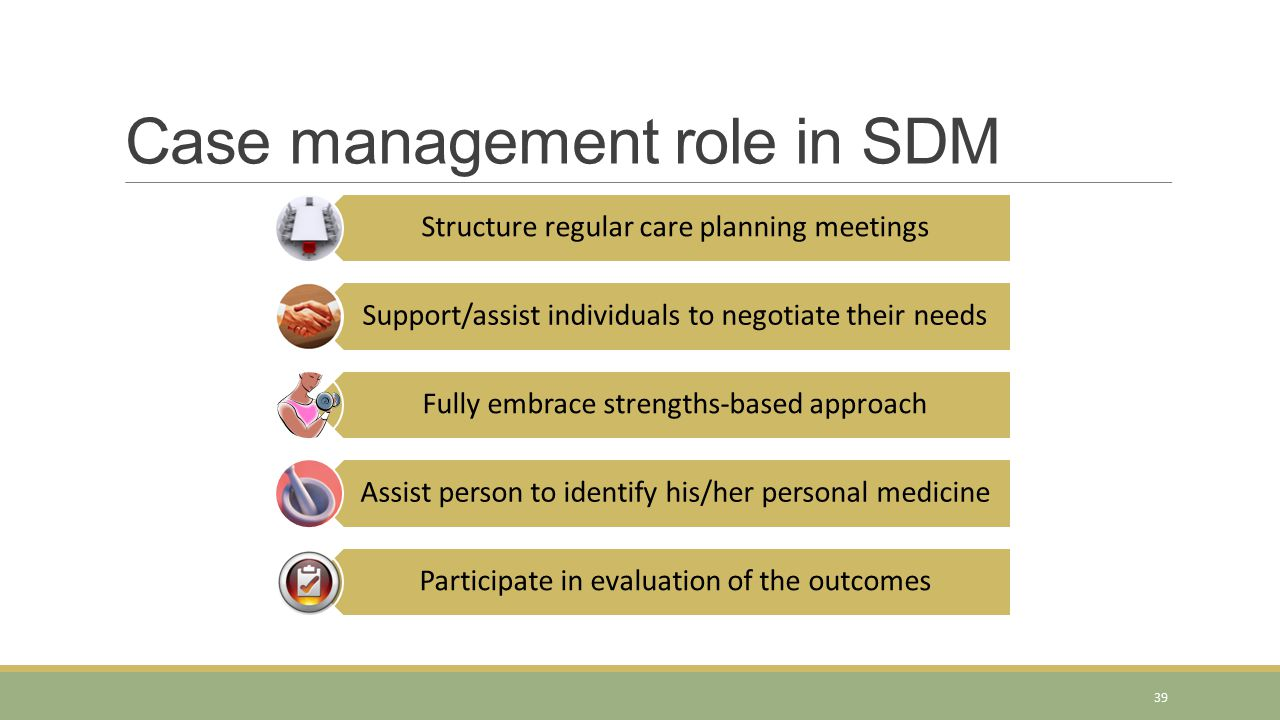 Case management role in SDM Structure regular care planning meetings Support/assist individuals to negotiate their needs Fully embrace strengths-based