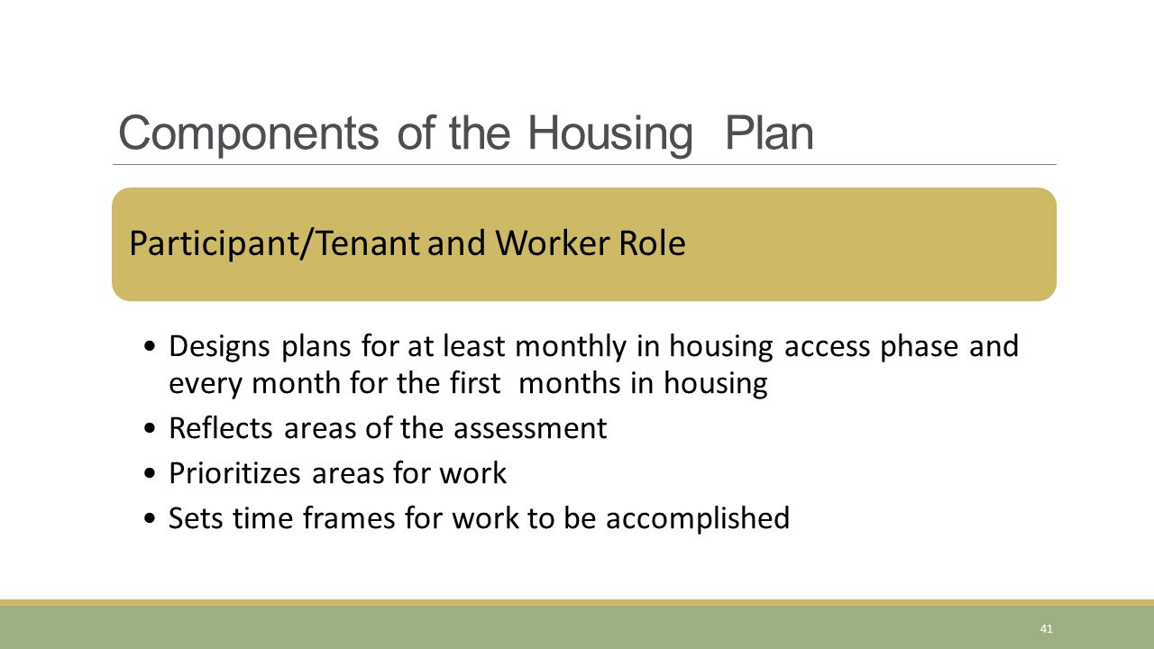 Participant/Tenant and Worker Role Designs plans for at least monthly in housing access phase and every month for the first months in housing Reflects