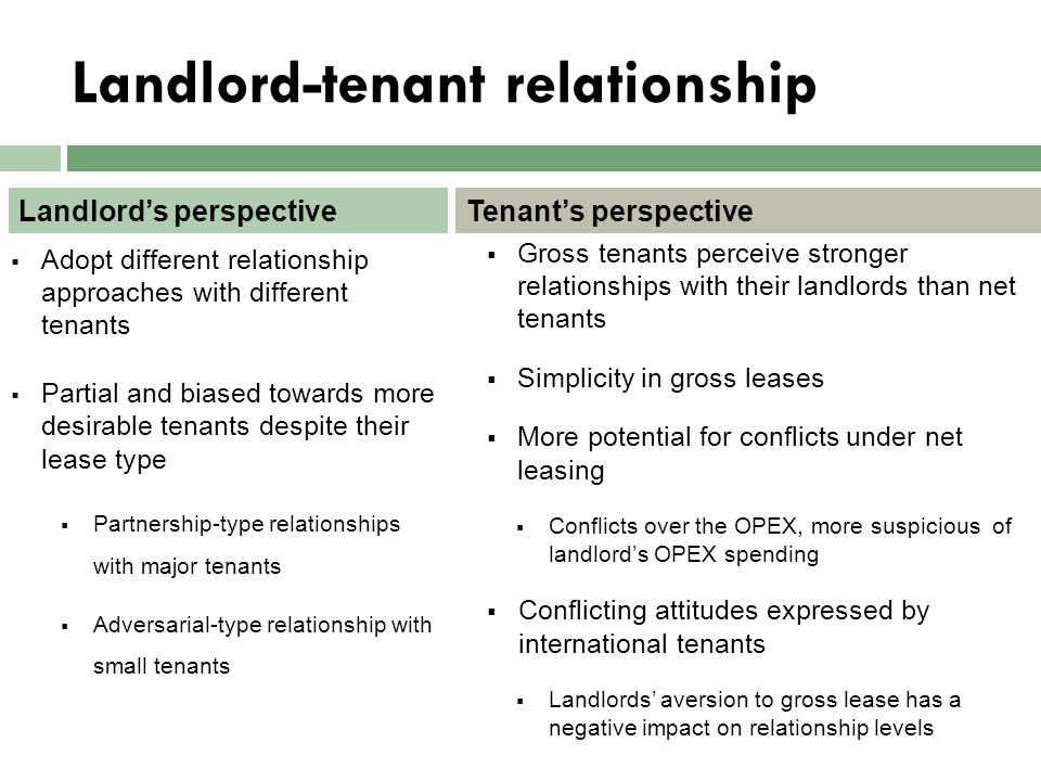 Landlord-tenant relationship  Adopt different relationship approaches with different tenants  Partial and biased towards more desirable tenants desp