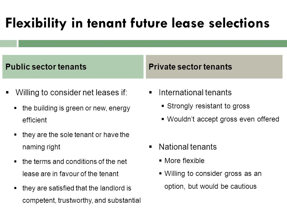 Flexibility in tenant future lease selections  Willing to consider net leases if:  the building is green or new, energy efficient  they are the sol