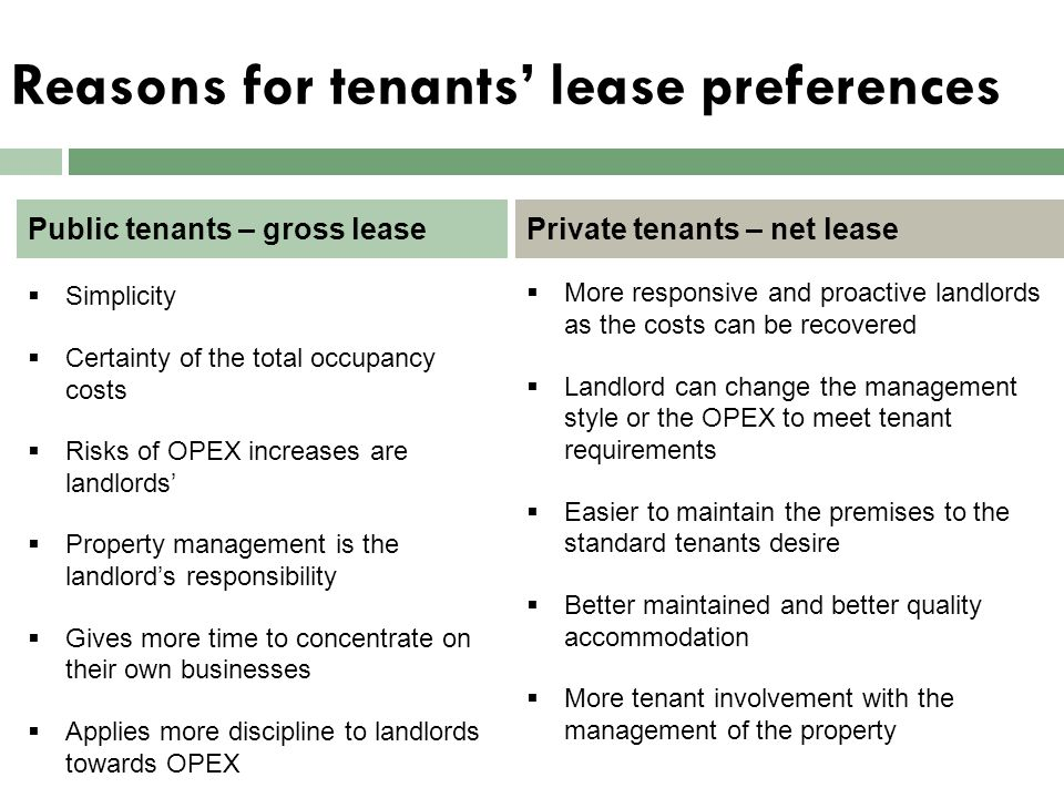 Reasons for tenants' lease preferences  Simplicity  Certainty of the total occupancy costs  Risks of OPEX increases are landlords'  Property manag