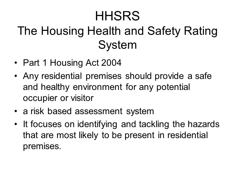 Housing health and safety rating system (HHSRS) enforcement ...