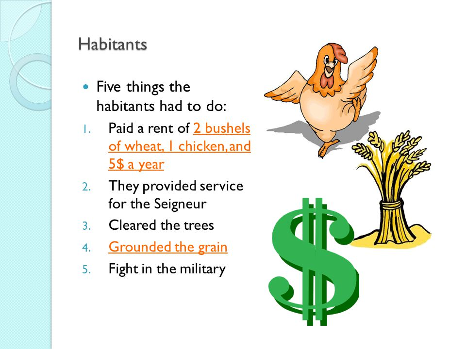 Habitants Five things the habitants had to do: 1.