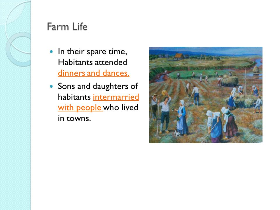 Farm Life In their spare time, Habitants attended dinners and dances.