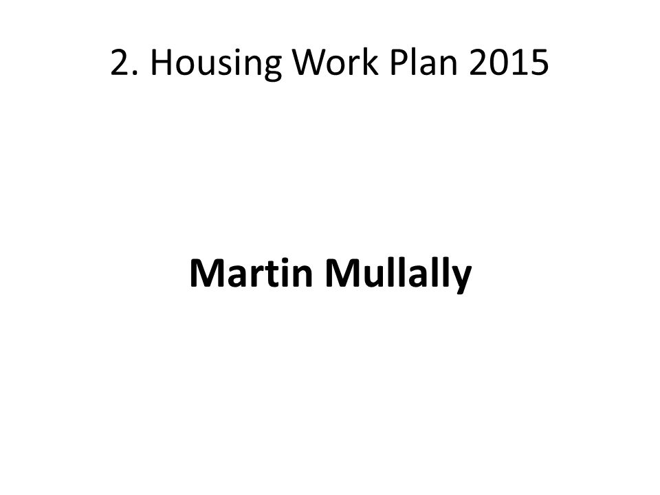 2. Housing Work Plan 2015 Martin Mullally