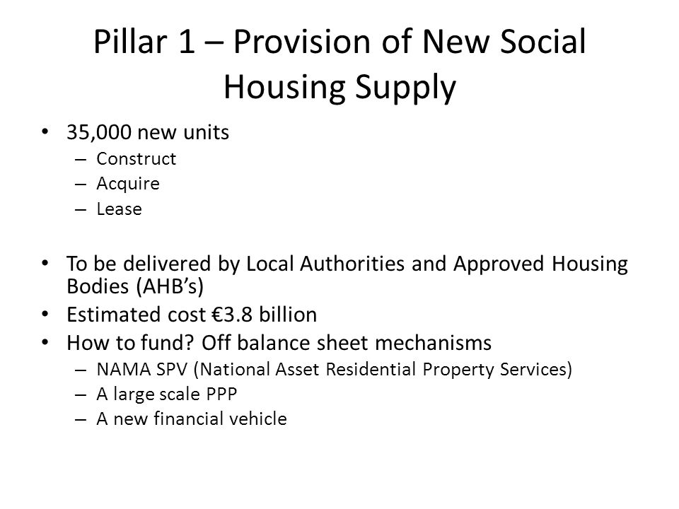 Enhanced Role for AHB's Encourage the formation of large scale providers from this diverse sector Introduction of multi-annual housing programmes Prioritisation of funding to incentivise scale More streamlined funding process Promotion of collaboration at local and regional level between local authorities and AHB's Enhanced regulation