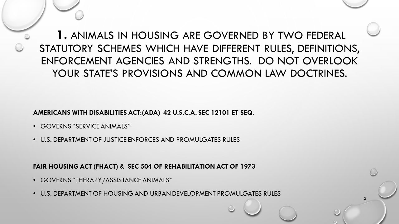 1. ANIMALS IN HOUSING ARE GOVERNED BY TWO FEDERAL STATUTORY SCHEMES WHICH HAVE DIFFERENT RULES, DEFINITIONS, ENFORCEMENT AGENCIES AND STRENGTHS. DO NO