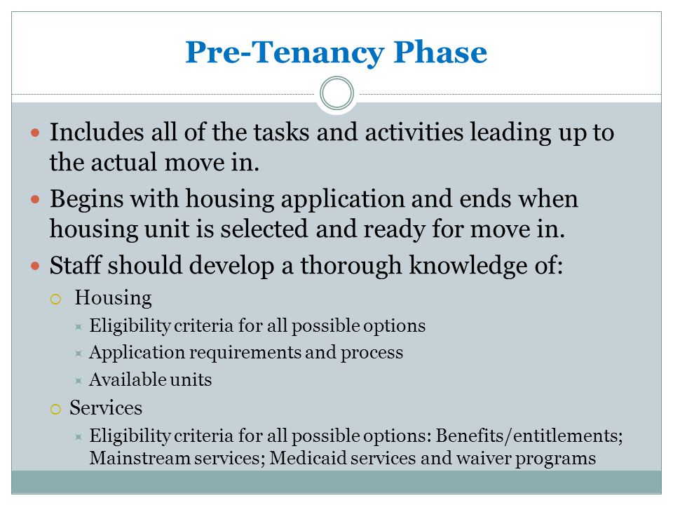 Phases of Moving into Subsidized Housing Pre-tenancyMove-in On-going Tenancy