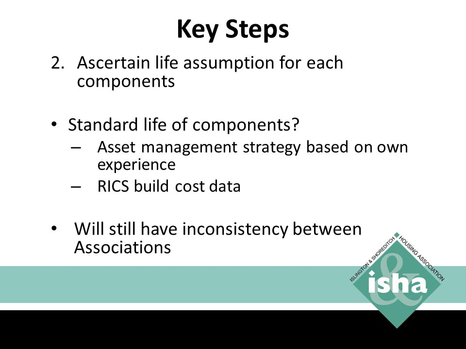 Key Steps 2.Ascertain life assumption for each components Standard life of components.