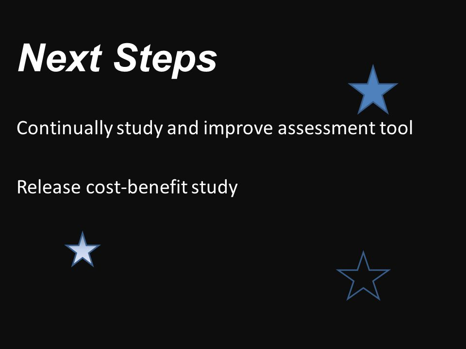 Next Steps Continually study and improve assessment tool Release cost-benefit study