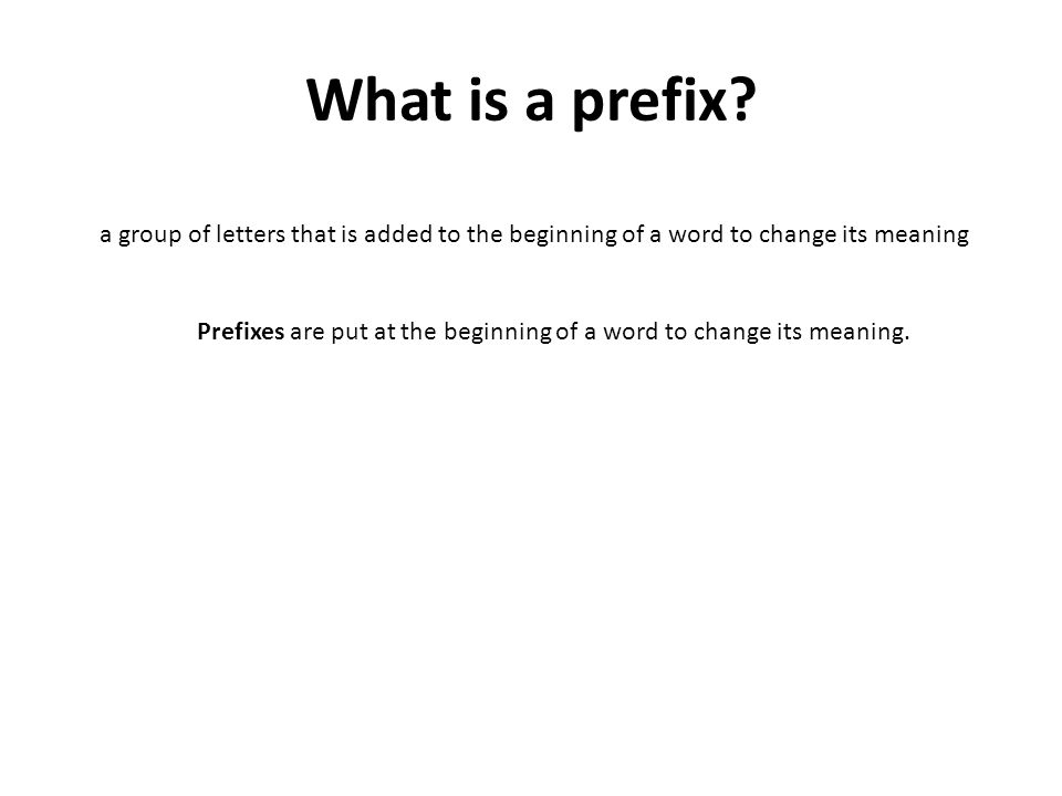 What is a prefix.