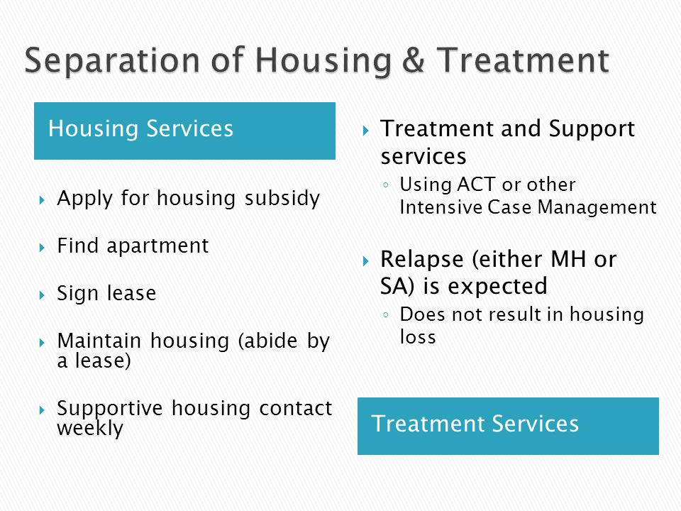 Housing Services Treatment Services  Apply for housing subsidy  Find apartment  Sign lease  Maintain housing (abide by a lease)  Supportive housing contact weekly  Treatment and Support services ◦ Using ACT or other Intensive Case Management  Relapse (either MH or SA) is expected ◦ Does not result in housing loss