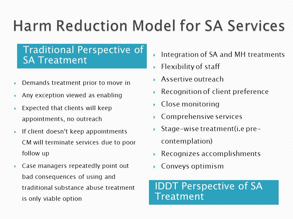 Traditional Perspective of SA Treatment IDDT Perspective of SA Treatment  Demands treatment prior to move in  Any exception viewed as enabling  Expected that clients will keep appointments, no outreach  If client doesn't keep appointments CM will terminate services due to poor follow up  Case managers repeatedly point out bad consequences of using and traditional substance abuse treatment is only viable option  Integration of SA and MH treatments  Flexibility of staff  Assertive outreach  Recognition of client preference  Close monitoring  Comprehensive services  Stage-wise treatment(i.e pre- contemplation)  Recognizes accomplishments  Conveys optimism