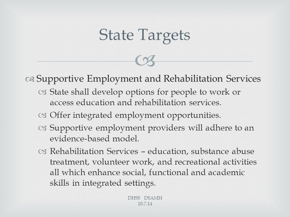   Supportive Employment and Rehabilitation Services  State shall develop options for people to work or access education and rehabilitation services