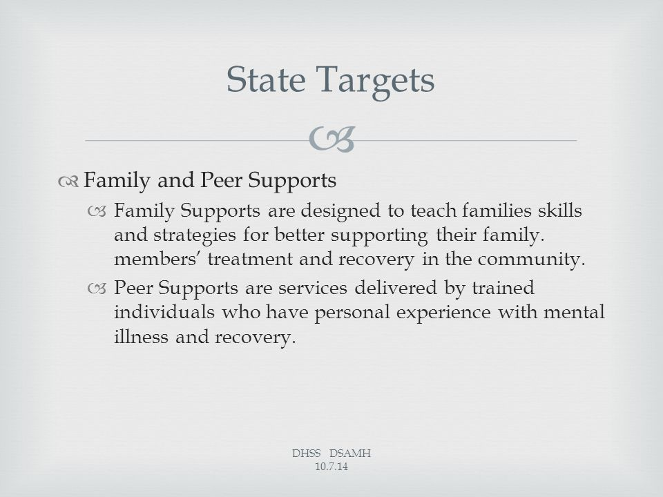   Family and Peer Supports  Family Supports are designed to teach families skills and strategies for better supporting their family. members' treat
